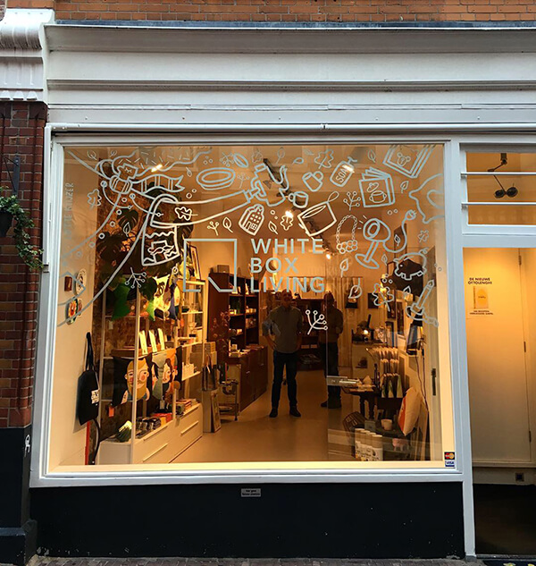 Window-painting at White Box Living Haarlem